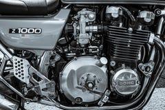 Motor av den japanska motorcykeln Kawasaki Kz 1000 Royaltyfria Bilder