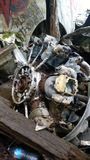 Motor av den kraschade bombplanen Royaltyfri Foto