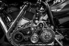 Motor av den största motorcykeln Leonhardt Gunbus 410 för världs` s Arkivfoto