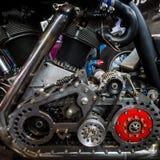 Motor av den största motorcykeln Leonhardt Gunbus 410 för världs` s Royaltyfri Fotografi