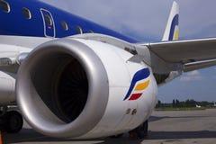 Motor av det moderna passagerarestrålflygplanet Arkivfoton