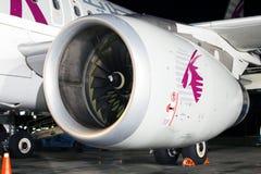 Motor av det moderna passagerarestrålflygplanet Royaltyfri Fotografi