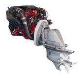 Motor av det motoriska fartyget över vit Royaltyfria Foton