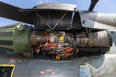 Motor av för Sikorsky CH-53 för skurkroll-elevator lasthelikopter hingsten hav Royaltyfri Fotografi