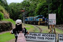 Motor av Kuranda den sceniska järnvägen i rösen, Australien Fotoet tas på mars 4, 2019 royaltyfri bild