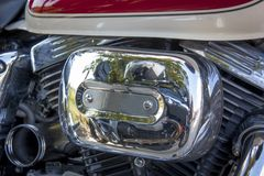 The motor of the bike. Chromed and metal parts of the motor of a custom bike Royalty Free Stock Image