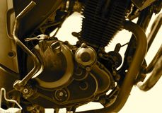 Motor bike engine isolated object stock photograph. The sport motor bikes engine iron and aluminium made objects isolated stock photograph Royalty Free Stock Photos