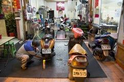 Motor bike fixing garage Taiwan Stock Image