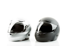 Motor bike helmets for road safety. On white background Royalty Free Stock Photos