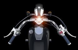 Motor Bike Steering Bar. On Solid Black Background Stock Photo