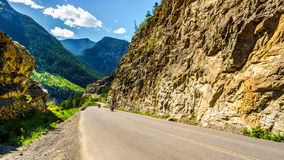 Motor Bikes driving Highway 99, also called The Duffey Lake Road. As it winds its way through the Coast Mountain Range between Pemberton and Lillooet in Stock Images