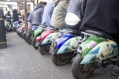 Motor bikes are seats in Camden market  London Stock Photos
