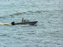 Motor boat. On the lake of Nysa in Poland Stock Photo
