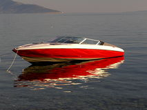 Motor boat. Red boat on the Adriatic sea Stock Image