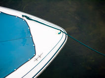 Motor Boat Abstract. The geometric front bow of a motor boat at a marina dock stock photography