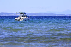 Motor boat in the Aegean Sea Royalty Free Stock Images
