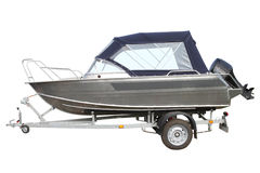 Motor boat with awning Royalty Free Stock Images