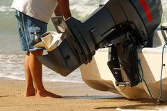 Motor boat on the beach Royalty Free Stock Image