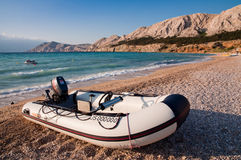 Motor boat in beach at Baska  Krk - Croatia Stock Image