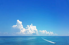 Motor boat in beautiful water of the Florida Keys Royalty Free Stock Image