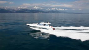 Motor boat, best italian yacht. aerial view stock footage