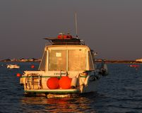 Motor Boat Boat Moored Off Ilha De Culatra Portugal Royalty Free Stock Images