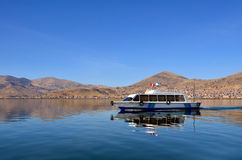 Motor Boat on Calm Lake Titicaca Royalty Free Stock Images
