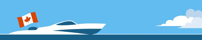 Motor boat with canada flag stock illustration