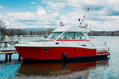 Motor boat of a coast guard parked in Annecy, France Royalty Free Stock Photo