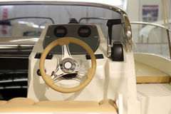 Motor boat cockpit Royalty Free Stock Photo