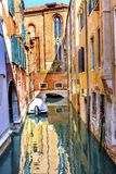 Motor Boat Colorful Small Side Canal Church Venice Italy Royalty Free Stock Photography