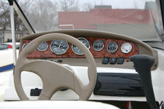 Motor Boat Dashboard. A motorboat parked in a parking lot is for sale Stock Image