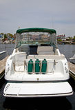 Motor boat docked in the marina. Stock Photos