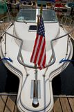 Motor boat docked in the marina. Royalty Free Stock Images