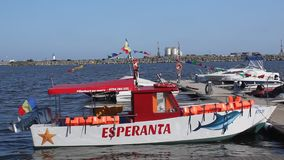 Motor boat Esperanta on the Black Sea Royalty Free Stock Images
