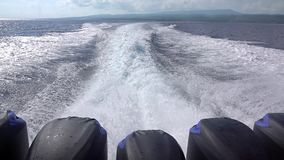 Wake Trail Behind a Powerful Motor Boat. Slow Motion stock video