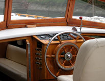 Motor boat interior. Luxury boat royalty free stock image