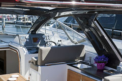 Motor boat interior. Interior of the modern motor boat Royalty Free Stock Images