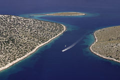 Motor boat in Kornati archipelago Royalty Free Stock Photography