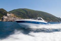 Motor boat. In navigation, rio yachts, italy Royalty Free Stock Photo