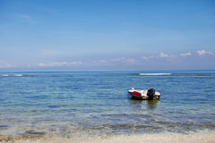 Motor boat near the shore. Sea stock images
