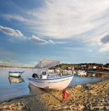 Motor boat in Ormos Panagias bay in Sithonia, Greece Stock Images