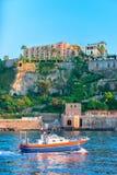 Motor boat at Port of Marina Grande in Sorrento. Sorrento, Italy - October 3, 2017: Motor boat at Port of Marina Grande in Sorrento, Tyrrhenian sea, Amalfi coast Stock Image