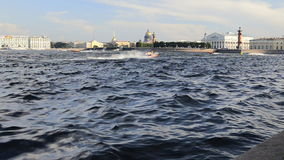 Motor boat racing in St. Petersburg, Russia. Twenty-four-hour motor boat race in St. Petersburg, Russia stock video