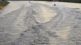Motor boat racing in St. Petersburg. Twenty-four-hour motor boat race in St. Petersburg, Russia stock footage