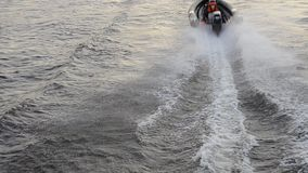 Motor boat racing. Top view. Twenty-four-hour motor boat race in St. Petersburg, Russia stock video