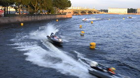 Motor boat racing. Twenty-four-hour motor boat race in St. Petersburg, Russia stock video