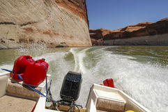 Motor boat ride on Lake Powell, Utah. Stock Photo