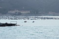 A motor boat and a rowing boat enter the port of La Spezia stock image