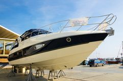 Motor boat for sale in marina Royalty Free Stock Photo